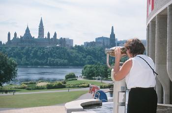 Tourist enjoying heritage